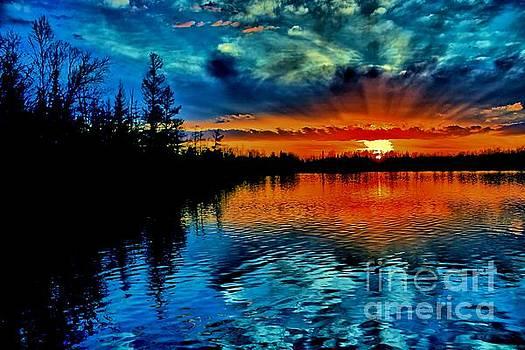 Matthew Winn - Fiery Sunset on Devoe Lake