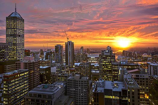 Fiery Sunset by Ray Warren
