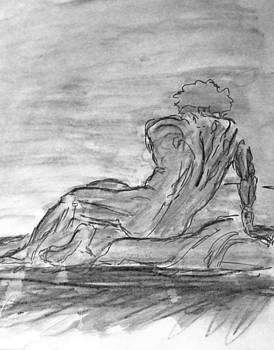 Figure Sketch in Monochrome Black White Arched and Curved Twisted Back Leaning on one Hand in Seated by M Zimmerman