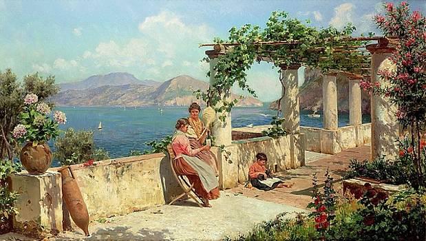 Figures on a Terrace by Alott Robert