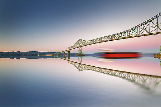 Fine art bridge and ship in clear sky with reflections by William Freebilly photography