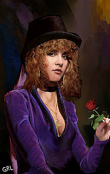 G Linsenmayer - Fine Art Digital Portrait Stevie Nicks Crescent Moon Top Hat