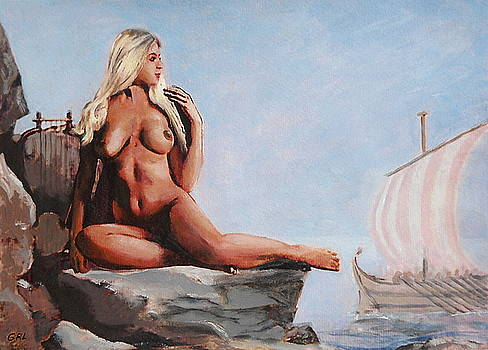 G Linsenmayer - FINE ART FEMALE NUDE JENNIE AS SEANYMPTH GODDESS MULTIMEDIA PAINTING