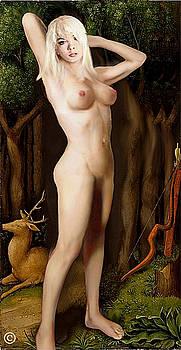 Fine Art Female Nude Niki Goddess Diana Standing Multimedia Painting by G Linsenmayer