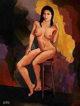 Fine Art Female Nude Vanna Pose2c Multimedia Painting Dark Background by G Linsenmayer