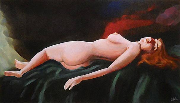 G Linsenmayer - Fine Art Nude Multimedia Painting Pose Reclining2 Dark Green Spread