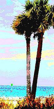 Fine Art Palm Trees Gulf Coast Florida Original Digital Painting by G Linsenmayer