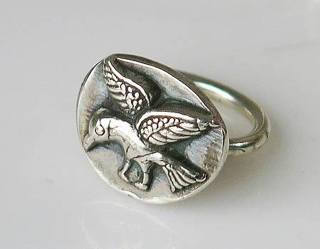 Fine Silver Bird Spirit Ring by Virginia Vivier