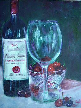 Fine wine paintings - MERLOT CABERNET SAUVIGNON by Virgilla Lammons