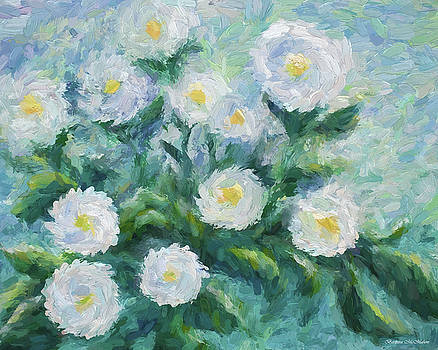 Finger Painted Garden Flowers by Barbara McMahon