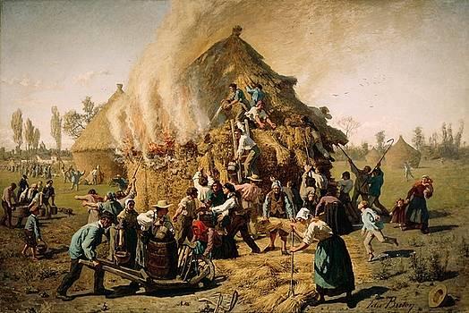 Fire in a Haystack by Jules Breton