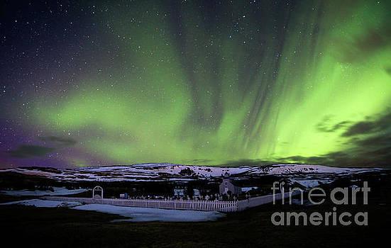 Fire in the Iceland Sky - Aurora Borealis over Hvammstangi by Matt Tilghman