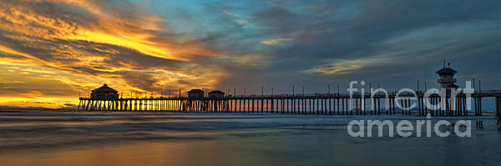 Fire On The Sky - Huntington Beach Pier by Peter Dang