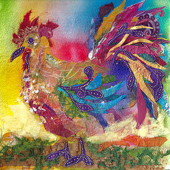 Fire Rooster Collage by Joyce Casey