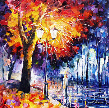 Fire Tree - PALETTE KNIFE Oil Painting On Canvas By Leonid Afremov by Leonid Afremov