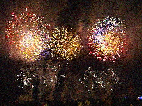 Fire Works Show Stippled Paint 3 FRANCE by Dawn Hay