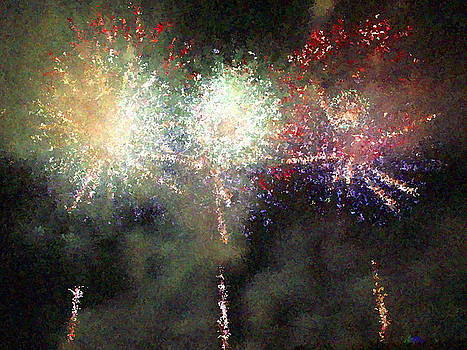 Fire Works Show Stippled Paint Finally FRANCE by Dawn Hay