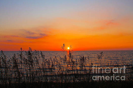 Fireball Sunset on Bluewater Beach by Nina Silver