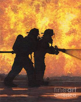 Firefighters Battling the Inferno by Sherry Goeben