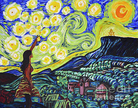 Fireflies of Castle Rock Van Gogh style by Trisha French