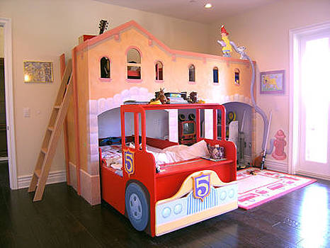 Firetruck Custom Furniture Bed by Mural Environments