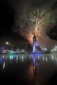 Fireworks Clock Tower Reflection 2016 by Paul DeRocker