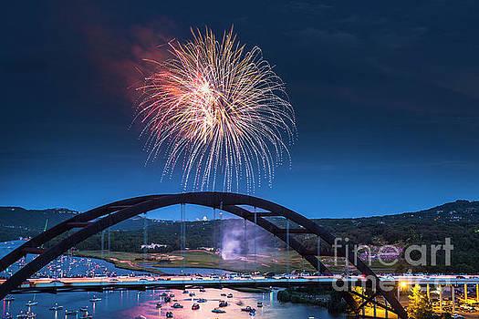 Herronstock Prints - Fireworks light the night sky over the 360 Bridge on Lake Austin