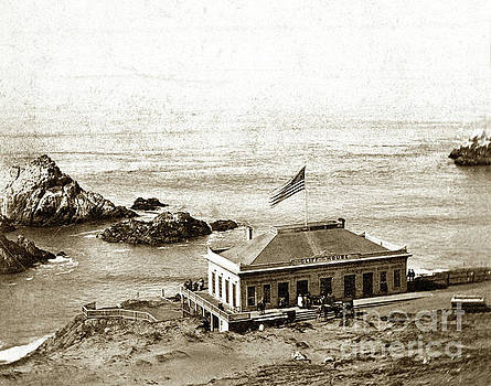 California Views Mr Pat Hathaway Archives - First Cliff House  View of Ropes from the Cliff House to Seal Rock circa 1865