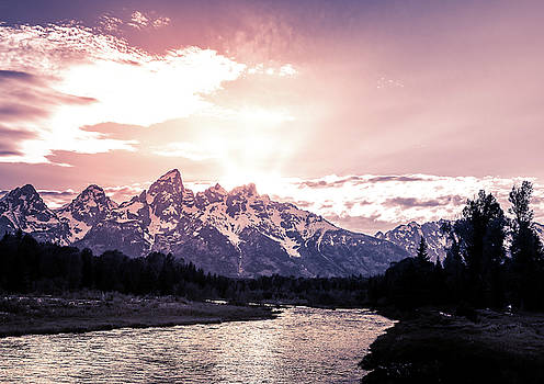First Light On Grand Teton Mountains by Dan Sproul