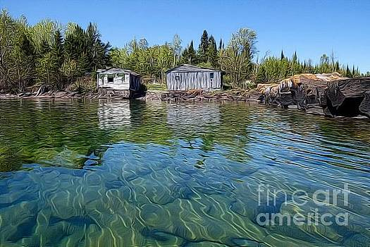 Fish House Reflections on Lake Superior by Sandra Updyke