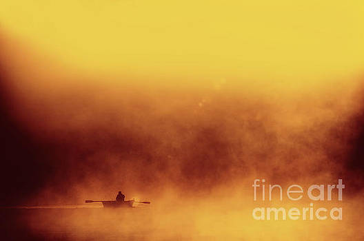 Fisher in quiet morning fog by Arletta Cwalina