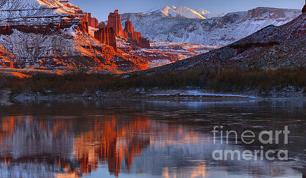 Fisher Towers And La Sal Mountains by Adam Jewell