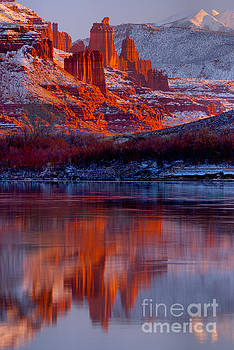 Fisher Towers And Snow Caps by Adam Jewell