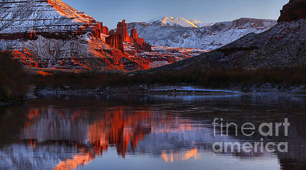 Fisher Towers Colorado River Reflections Panorama by Adam Jewell