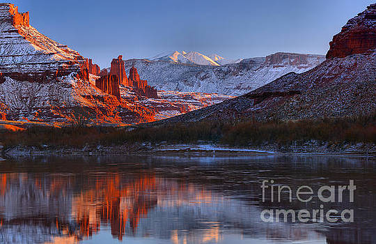 Fisher Towers Glowing Reflections by Adam Jewell