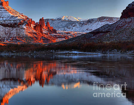 Fisher Towers Sunset On The Colorado by Adam Jewell