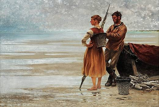 Fisherfolk On The Beach by August Hagborg