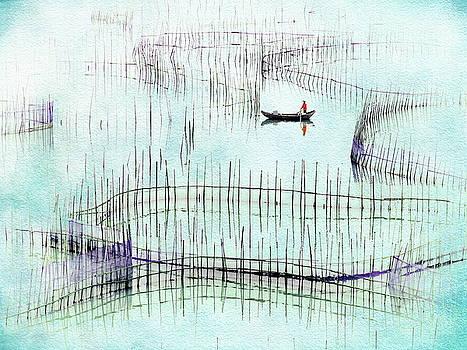 Fisherman Fishing  by Andrea Kollo