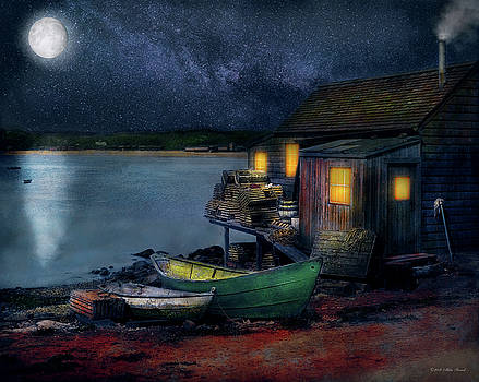 Fisherman - Lobster - The Fisherman's Cabin 1915 by Mike Savad
