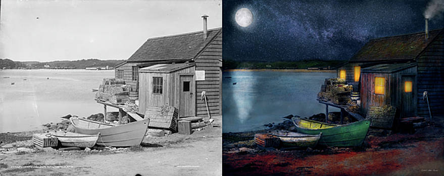 Fisherman - The Fisherman's Cabin 1915 - Side by Side by Mike Savad