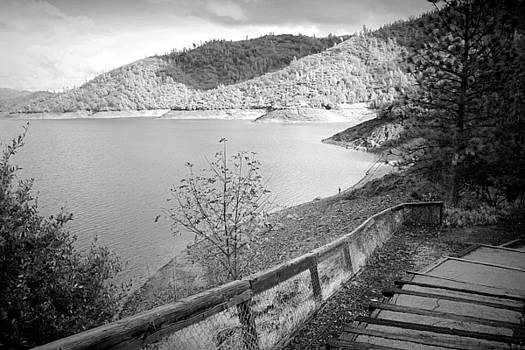 Fishermans Point Shasta Lake B and W by Joyce Dickens