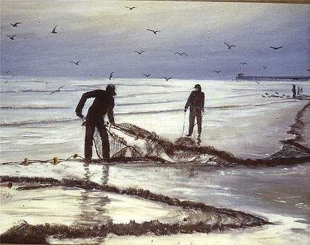 Fishermen at Dusk by Sue Coley