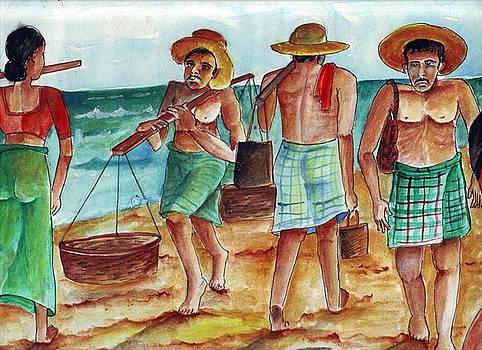 Fishermen In Sea by Kanthasamy Nimalathasan