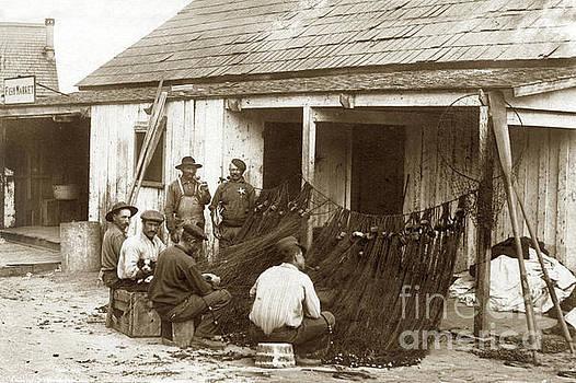 Fishermen repairing nets Santa Cruz Circa 1907 by California Views Mr Pat Hathaway Archives