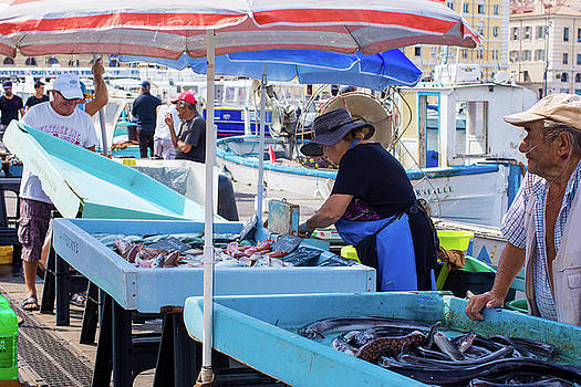 Fishers Selling Fish In Marseille by Elly De vries