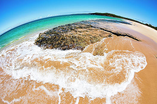 Fisheye view of tropical beach by Joe Belanger