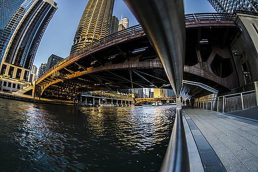 Fisheye view from The Chicago Riverwalk by Sven Brogren