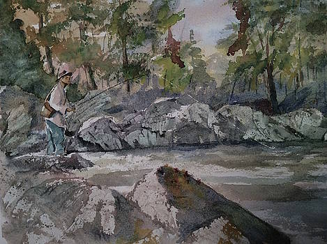 Fishing a mountain stream by Jim Stovall