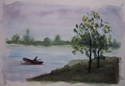 Fishing at Calavaras Lake by Monique Montney