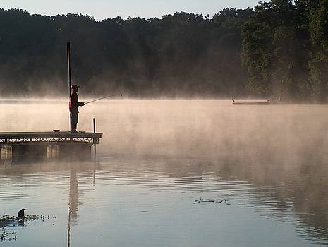 Fishing at Dawn by Denise   Hoff